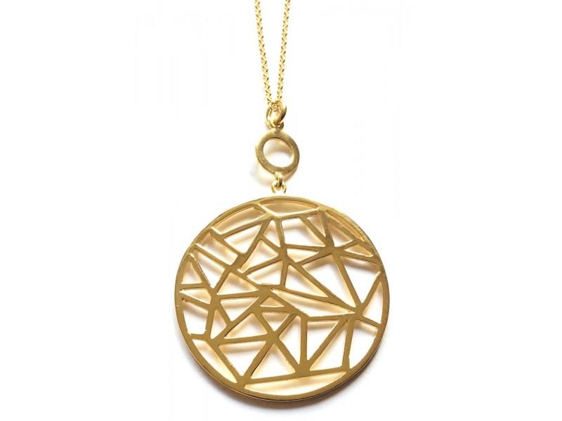 Γυναικείο Κολιέ Ασημένιο κύκλος με Γεωμετρικά Σχήματα