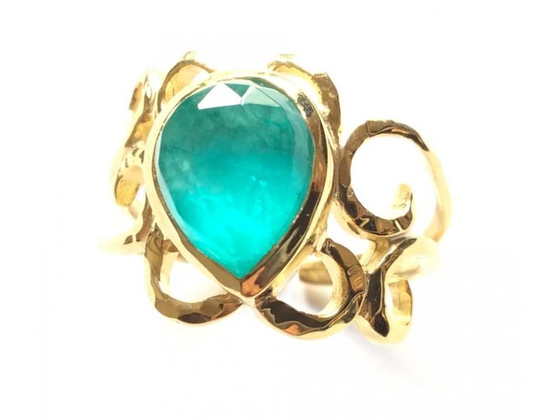 Γυναικείο Δαχτυλίδι Ασημένιο Με Αμαζονίτη