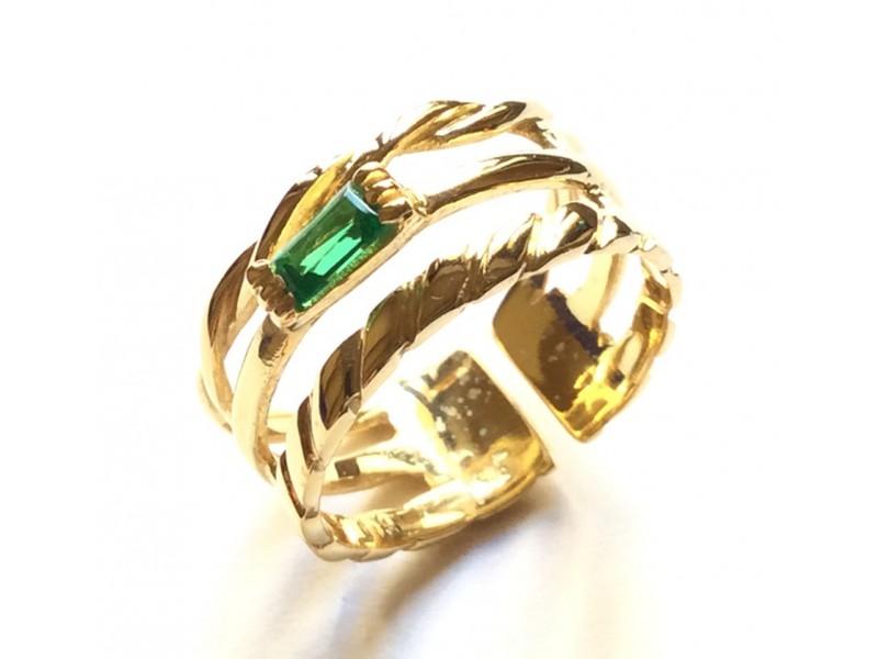 Ασημένιο γυναικείο δαχτυλίδι τρίβερο με σμαράγδι